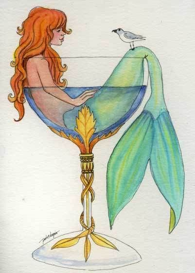 Mermaid  in a Glass  Daughter relaxing and talking to her pet bird.