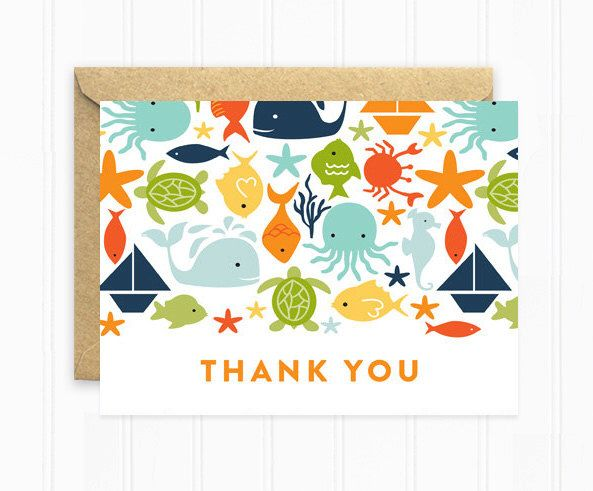 Baby Shower Thank You Cards, Ocean Baby Shower Cards, Birthday Thank You Notes, Sailboat, Crab, Turtle by MooseberryPaperCo on Etsy https://www.etsy.com/listing/217026924/baby-shower-thank-you-cards-ocean-baby