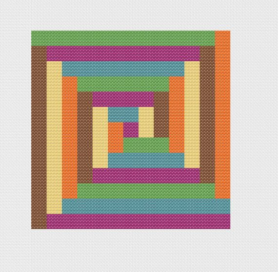 Modern Log Cabin  - Geometric Cross Stitch Pattern