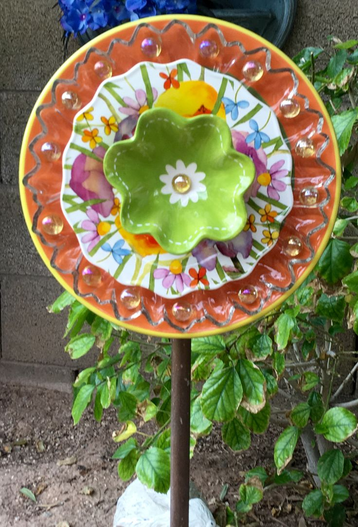 Fused glass yard art - Happy Colorful Plate Flower Garden Art Jk
