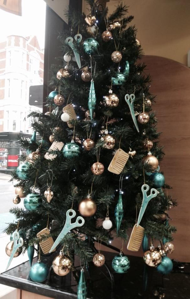 Some of the girls's custom design pieces on a London barber's tree.