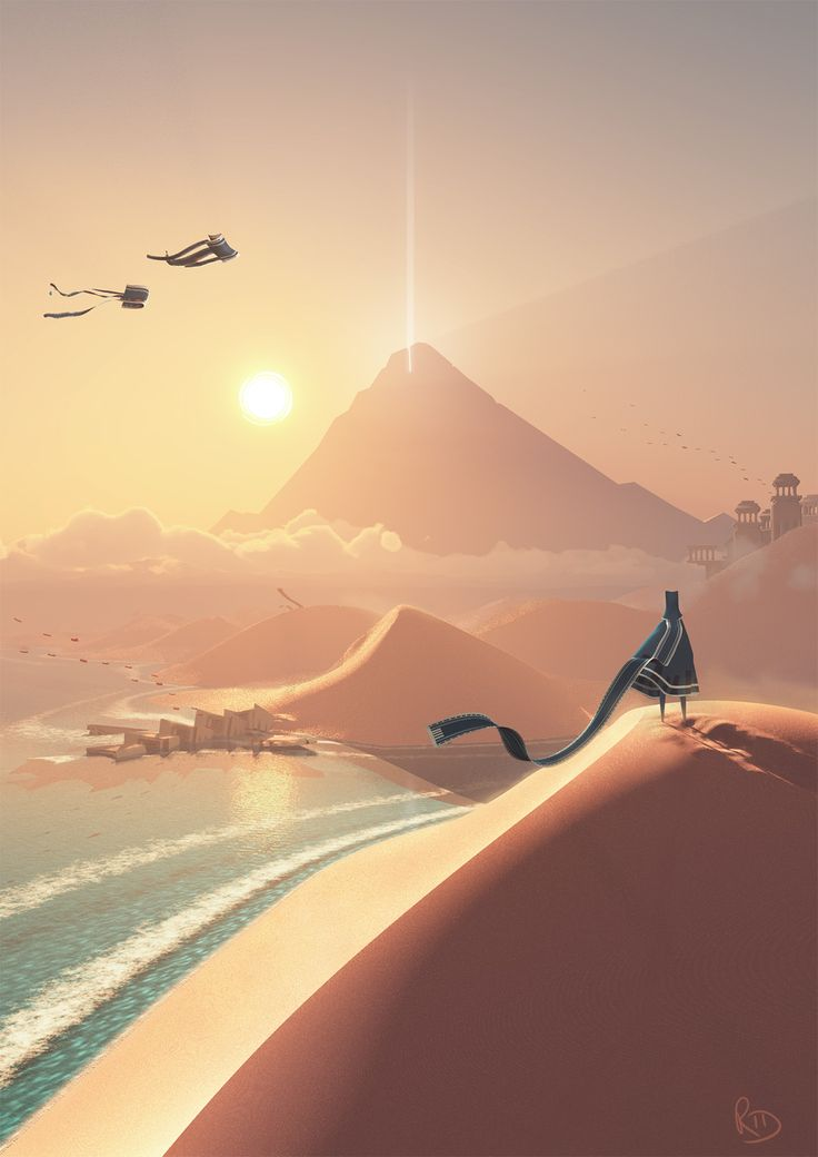 concept art for the game journey, i really enjoy the way that the artstyle is simplistic yet shows a greater depth with the way it has been presented.