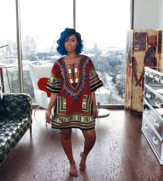 I want this so bad & it's affordable Burgundy African Dashiki Dress/Top by MuurSwagg on Etsy