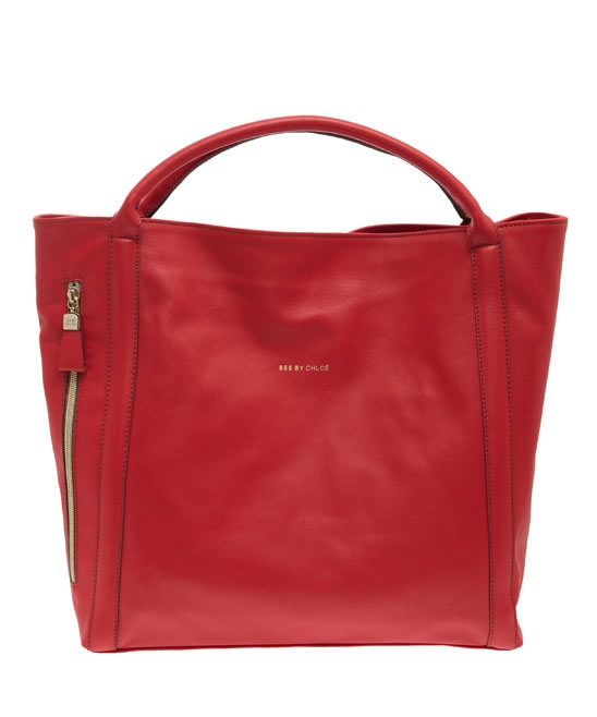 SEE BY CHLOE RED HARRIET LEATHER TOTE BAG