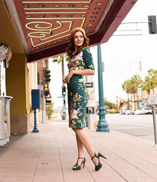 Vintage Deep Green Seville Floral Half Sleeve Hepburn Wiggle Dress