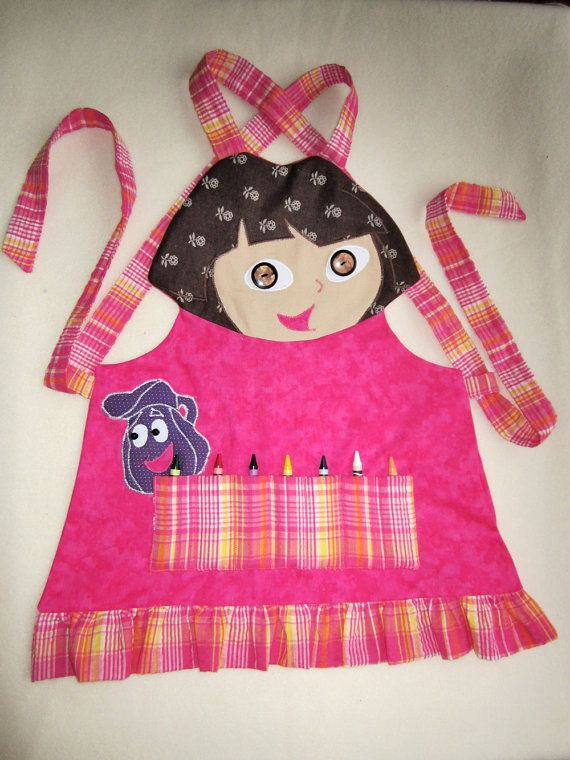 Kids Crayon Apron - PINK CAT, Cooking Apron, Garden Apron - Fully Lined - Made…