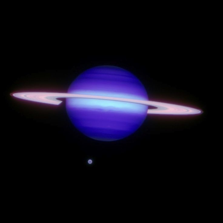 Gemini North infrared image of Saturn and Titan (at about 6 o'clock position).  At the edges of Saturn's ring, the F-ring is faintly visible. - Image: Gemini Observatory/AURA/Henry Roe, Lowell Observatory/Emily Schaller, Insitute for Astronomy, University of Hawai'