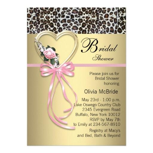 Pink Leopard Black Gold Leopard Bridal Shower Custom Announcements