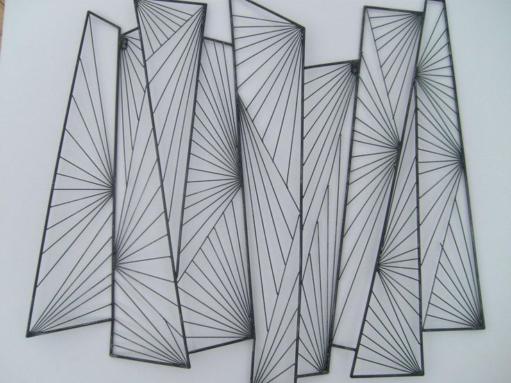 Nice Artistic Geometric Wall Decor Of Wall Drawing Sketch With Elegant Black  Color Style Line Shaped Drawing For White Wood Interior Decorating.