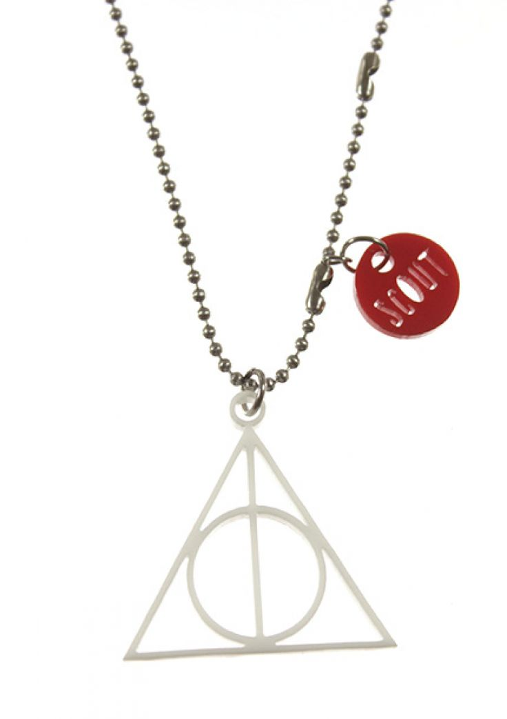 """Deathly Hallows necklace for teens. Laser cut in white acrylic on a 24"""" stainless steel chain."""