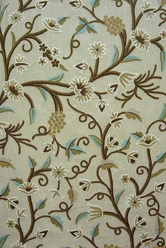 crewel work fabric | Angoor Crewel Fabric Beautiful hand crafted crewel in brown, cream and ...