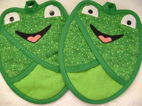 Point vert grenouille des poignées, des poignées de poche, Pot titulaires, mitaines de four de grenouille, grenouille des maniques, amant de la grenouille