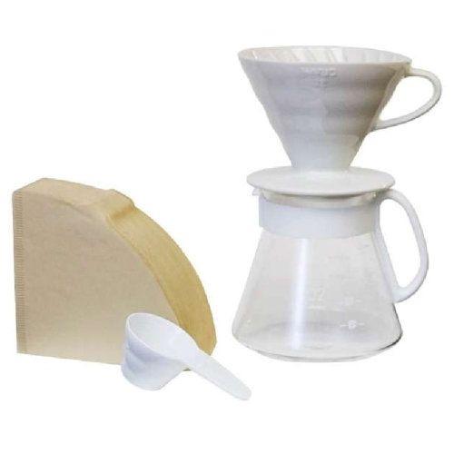 Hario V60 Ceramic Pour Over Set - White
