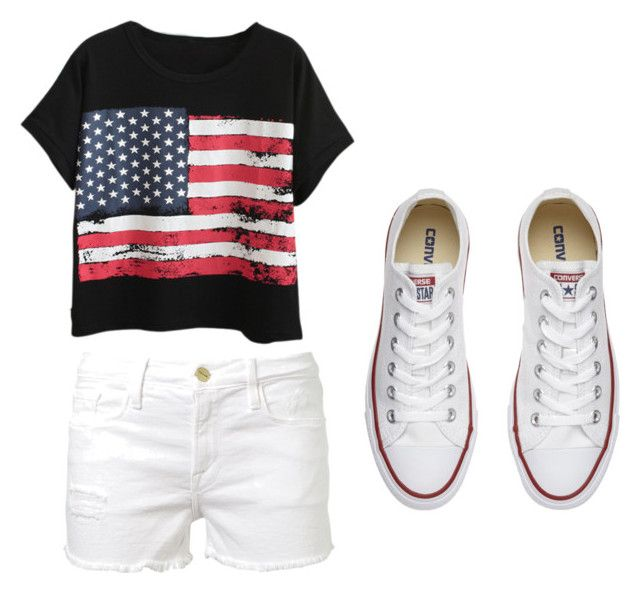 """Summer"" by josiasashlee on Polyvore featuring Chicnova Fashion, Frame Denim and Converse"