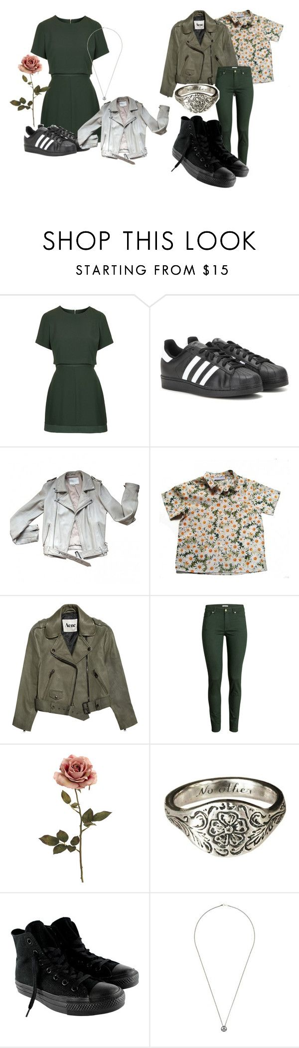 """Green"" by freedom2095 ❤ liked on Polyvore featuring Topshop, adidas, Maje, Cacharel, Acne Studios, H&M, Talon, Converse and Rosa Maria"