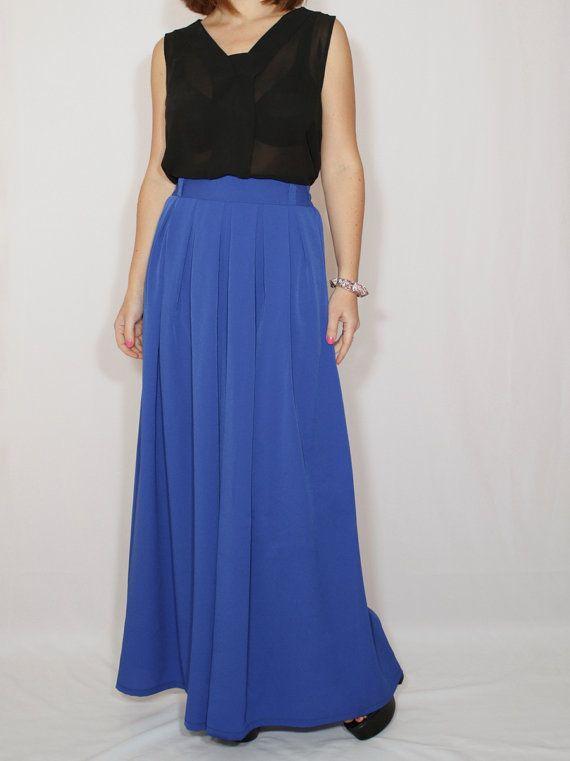 Azul cobalto pantalón falda palazzo de Gasa moda falda