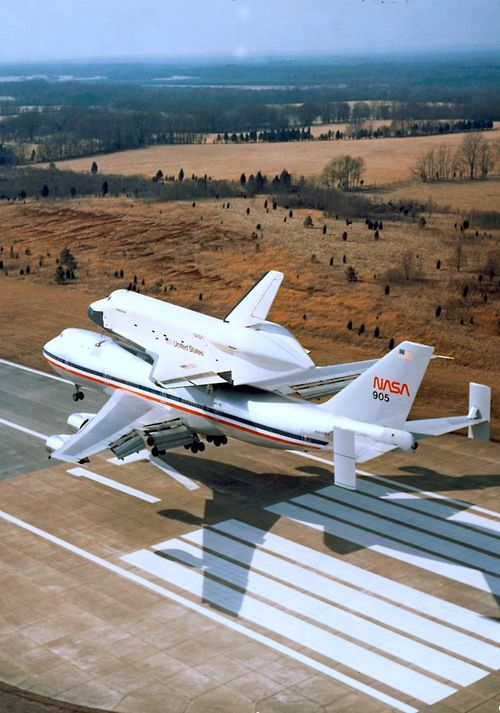 NASA Shuttle Carrier Aircraft Boeing 747-123(SCA) N905NA, with Space Shuttle Enterprise (OV-101) hanging on tight, can be seen landing at Redstone Army Airfield in Huntsville, Alabama on March 13, 1978. Enterprise was there to undergo rigorous Mated Vertical Ground Vibration Testing at the nearby Marshall Space Flight Center. (Image: United States Army)