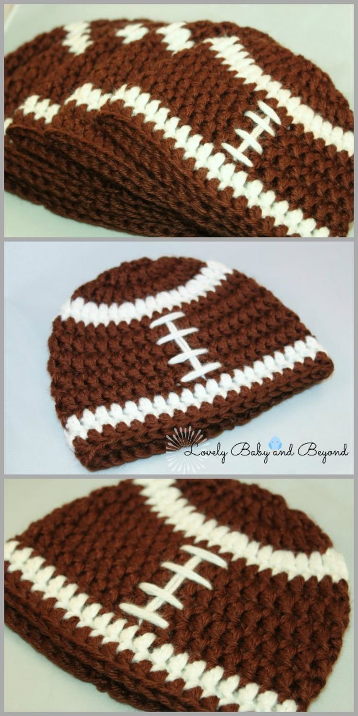 Get a free crochet pattern to make your own chunky football beanie in 0-3 months through Adult!