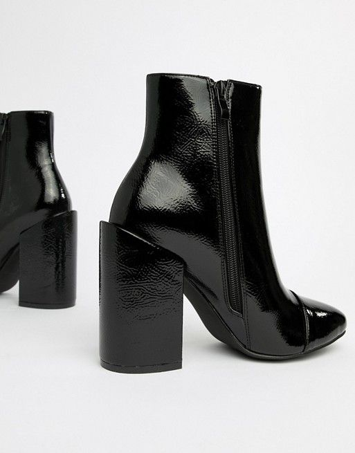e55fadecd09 RAID Dolley Black Patent Heeled Ankle Boots in 2019