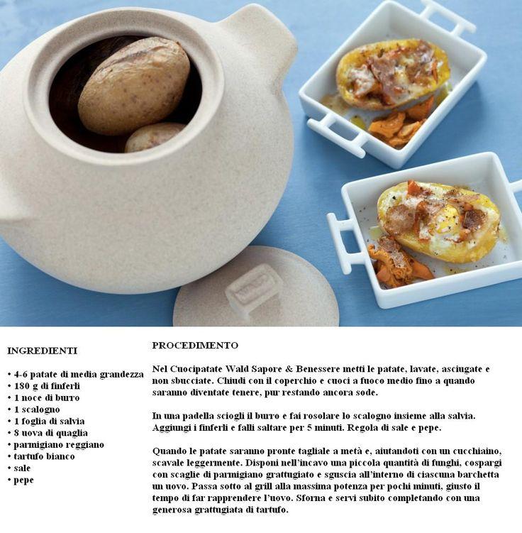 Uova in cocotte di patate con finferli e tartufo bianco, un piatto autunnale semplice e raffinato preparato con il cuocipatate Wald Sapore & Benessere. Acquistalo su www.teresapizzigalloshop.it/…/446-cuocipatate-con-coperchio…