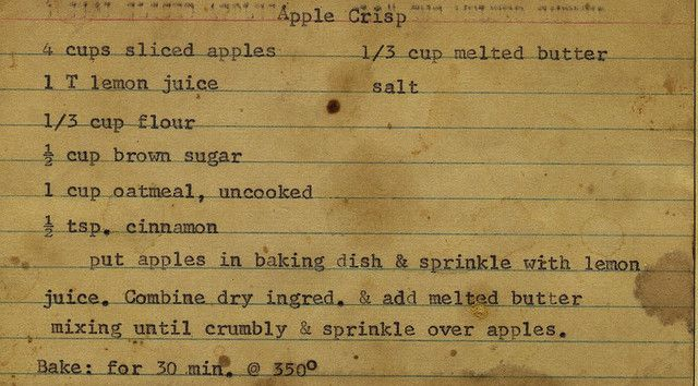That's how I learned to do it...   :)  Apple Crisp | Flickr - Photo Sharing!
