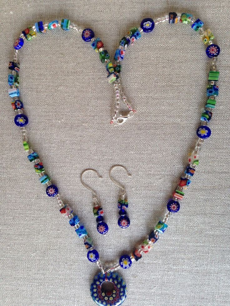 A personal favorite from my Etsy shop https://www.etsy.com/listing/235748541/blue-millefiori-necklace-with-millefiori