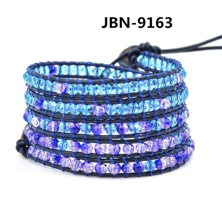 Aliexpress браслет, ювелирные изделия браслет 5 мужчин браслеты 4 мм хрустальные бусины кожаный браслет JBN-9163