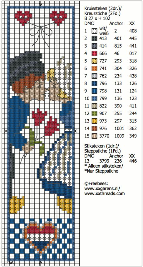 hollands stelletje - cross stitch bookmark