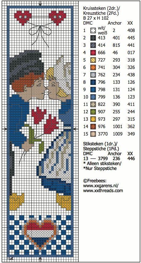 hollands stelletje - cross stitch bookmark