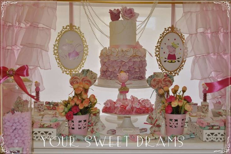 Pretty pink Peppa Pig princess birthday party! See more party ideas at CatchMyParty.com!