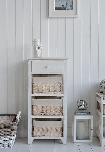 The White Lighthouse Bathroom Furniture. Cape Cod White Free Standing Bedroom  Storage Furniture With 4 Drawers And Baskets Large.