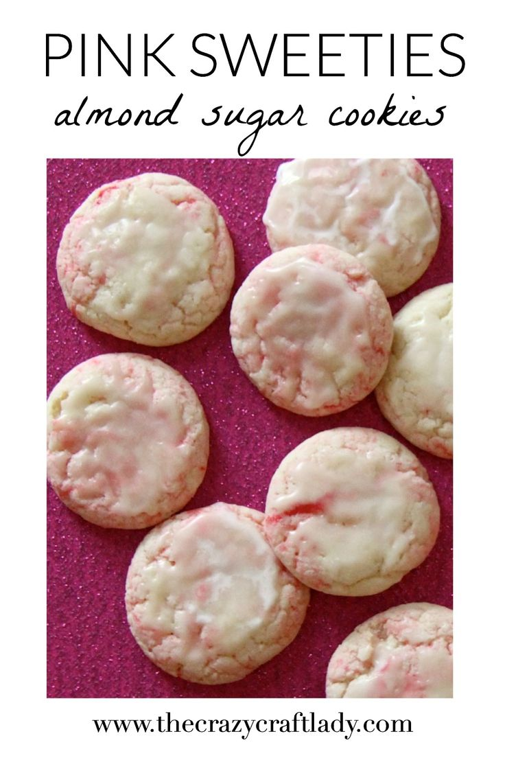 """These cookies are seriously ADDICTING!  """"Pink  Sweeties"""" are pink and white almond swirl cookies that are melt in your mouth delicious.  They are probably my favorite cookie recipe ever!"""
