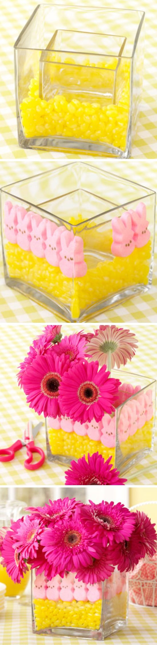 Peeps Flower Vase Centerpiece for baby showers.  Be sure to get your invitations at http://www.zazzle.com/kjsinvitations/gifts?cg=196759875936656075=238279267109160434=zBookmarklet