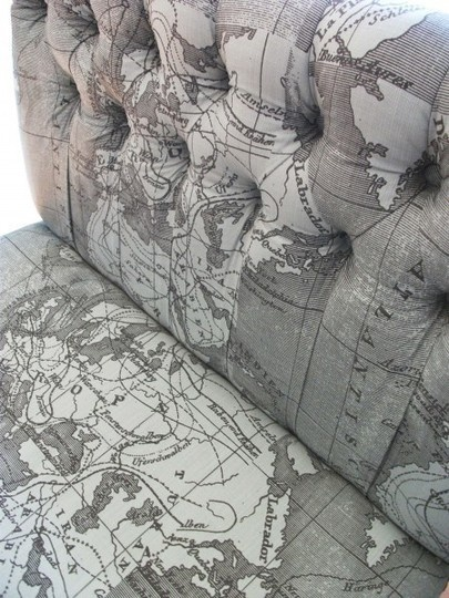 map fabric?!  map chair?  map swoon.Fabrics Maps, Furniture Fabrics, Suitcas Chairs, Old Suitcases, Maps Chairs, Upholstered Chairs, Mapprint Chairs, Fabrics Chairs, Maps Fabrics