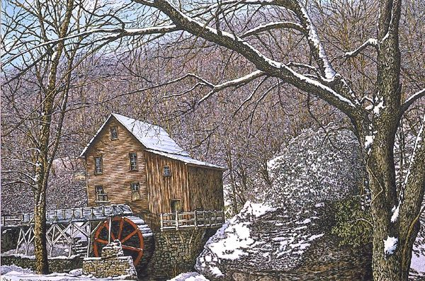 Glade Creek Grist Mill In Winter by Thelma Winter   Art ...
