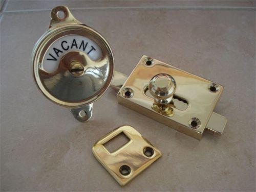 "Brass ""Edwardian"" Vacant Engaged Toilet Bathroom Lock Bolt Indicator Door Knobs | eBay"
