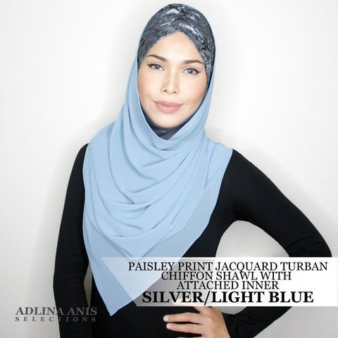 PAISLEY PRINT JACQUARD TURBAN CHIFFON SHAWL WITH ATTACHED INNER - SILVER/LIGHT BLUE  $68.00 SGD  Limited Edition Slip-on Turban with shawl and attached ninja providing a fuller coverage. Style it like the onesie. Size: Fits small to medium  You'll find only the best hijabs / tudungs / scarves that are shipped worldwide.  Click through to the website to find out more.