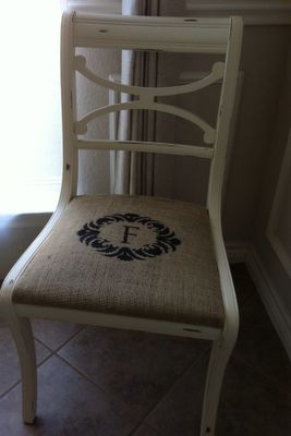 Great Idea.  Burlap seat cover with stencil monogram