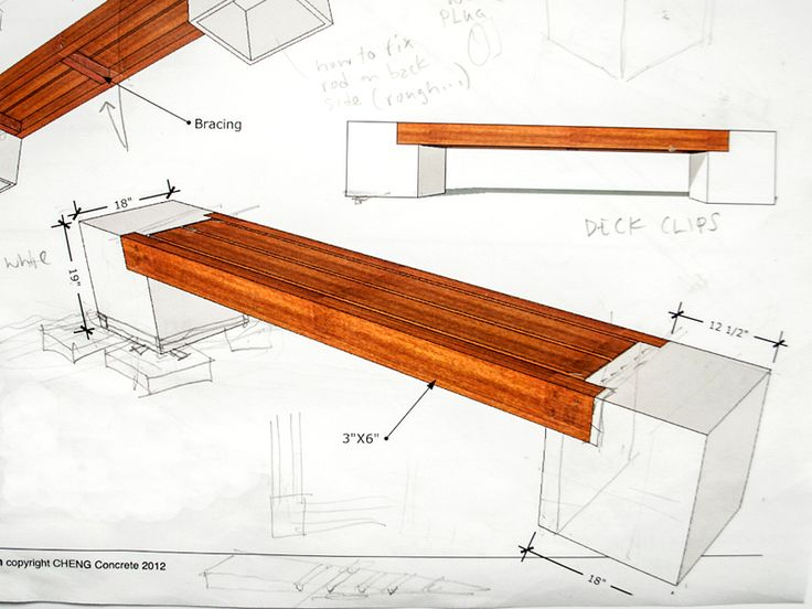 Concrete and wood bench design