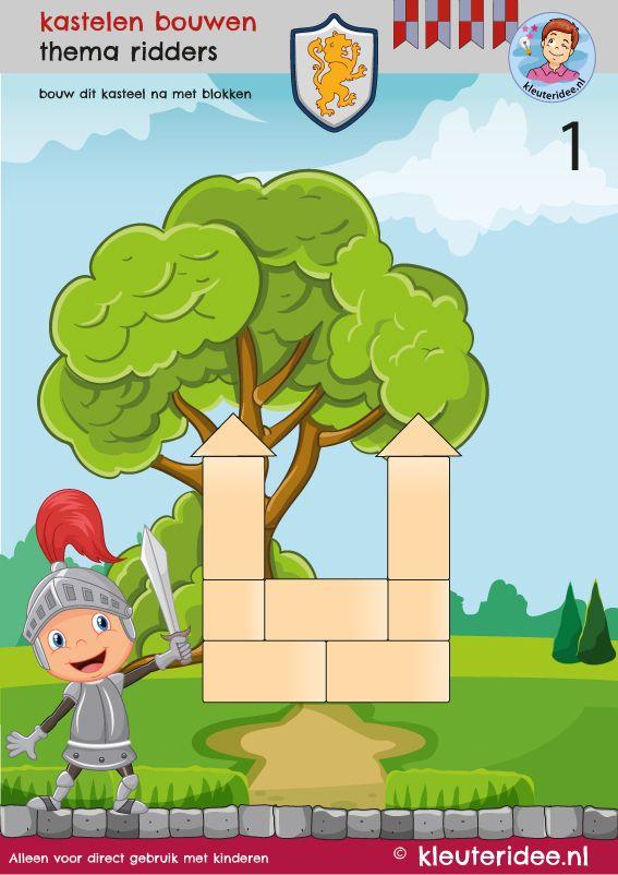 10 bouwkaarten kastelen, thema ridders, kleuteridee, Kindergarten knights theme.