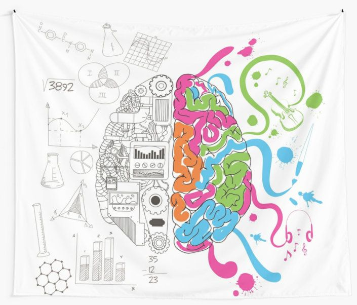 Brain Creativity Illustration by Gordon White | Creative Brain Chemistry Wall Tapestry Available in 3 Sizes @redbubble @redbubblecreate  ---------------------------  #redbubble #sticker #brain #creative #creativity #chemistry #nerd #geek #cute #adorable #walltapestry #tapestry #homedecor #bedroom #livingroom  ---------------------------  http://www.redbubble.com/people/blackbox23/works/23716610-creative-brain-chemistry?asc=u&p=tapestry&rel=carousel