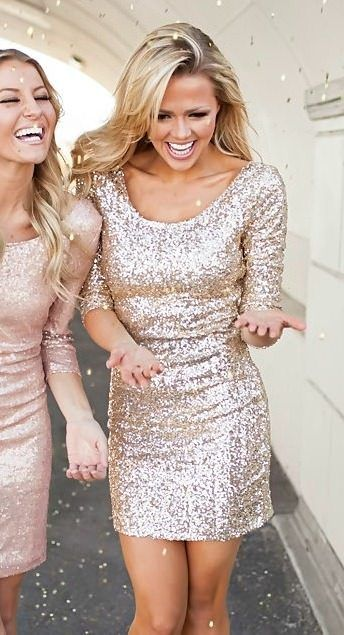 (Pre-Sale) Sparkles New Years Dress Gold - Modern Vintage Boutique