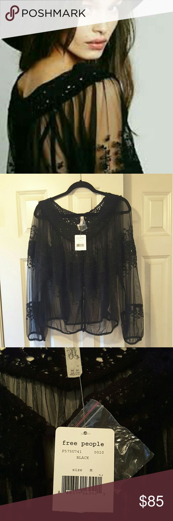 Free People Counting the Days Victorian Blouse NWT Beautiful mesh and lace blouse. Buttons down the front. Can be worn with buttons in back also. Free People Tops Blouses