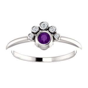 NEW! Bezel Set Amethyst & Diamond Stackable Ring | Click through for product details OR to locate a jeweler near you!