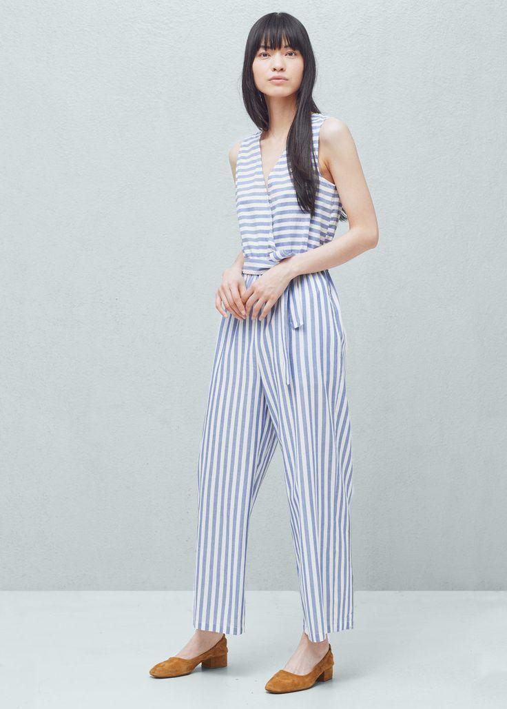 Striped cotton jumpsuit | MANGO