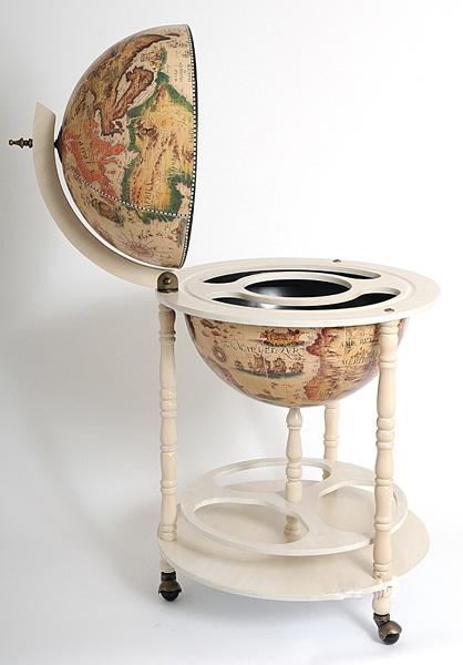 Old Modern Handicrafts Globe Drinks Cabinet Floor Stand-White  $163.80