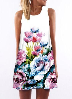 Vestidos Algodón Floral Sobre las rodillas Sin mangas