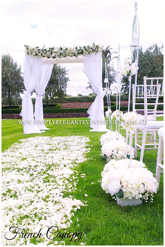 A perfect view of our French Canopy Package and aisle decoration #simplyelegantweddingadelaide