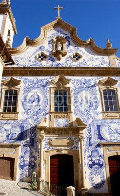 Unique ancient Santa Maria Church with stuning tiles - Covilha , Portugal