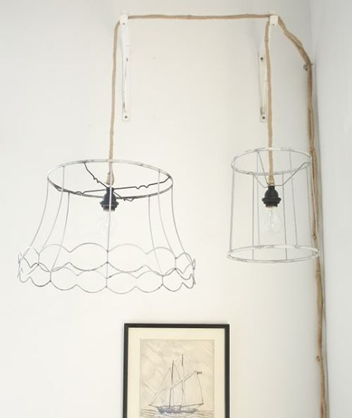 DIY lamp - I like how these look industrial and girly at the same time